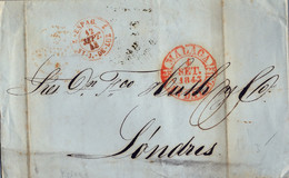 1843 , PREFILATELIA ,  MÁLAGA Y LONDRES , BAEZA EN ROJO , TRÁNSITO ST. JEAN DE LUZ , BORDEAUX , SOUTHAMPTON - ...-1850 Voorfilatelie