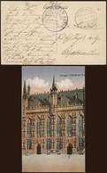 """Bataillon Allemand - Feldpostkarte (Brugge 1916) + Briefstempel """"St-Andreas / Eichtkranken Abt."""" - Army: German"""