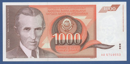 YUGOSLAVIA - P.107 – 1.000 Dinara 1990 - UNC  Prefix AB - Jugoslavia