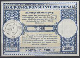 NORWAY / NORVEGE / NORGE Lo15A 75 ÖRE International Reply Coupon Reponse Antwortschein IRC IASo BODÖ 29.01.57 - Enteros Postales