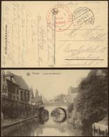 "Bataillon Allemand - Feldpostkarte (St-Andrea, Lophem 1916) + Briefstempel ""Leichtkranken - Abt / St-Andreas"" - Army: German"