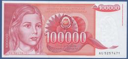 YUGOSLAVIA - P.97 – 100.000 Dinara 1989 - AUNC  Prefix AU - Jugoslavia