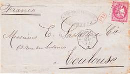 Ceres 49 80c Rose Losange Ancre Cachet Octogonal Buenos Aires Mai 1871 De Toulouse Sur Devant - Schiffspost