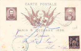 Sage 10c Sur Carte Visite Empereur Russe 6 Octobre 1896 Paris Choiseul 5 Octobre Pour Koln Cologne Allemagne - 1877-1920: Semi-Moderne
