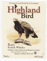 Superbe étiquette Whisky Thème Aigle - Whisky Label HIGHLAND BIRD - Eagle - Whisky