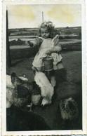 ( CARTE PHOTO ) (BRETAGNE  )( 22 COTES DU NORD   )( LANCERF  )( PLOURIVO )( ENFANTS  )( POULES ) 1948 - Places