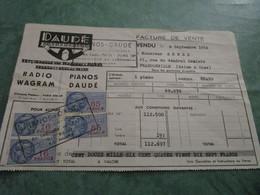 PIANOS DAUDE - Facture De L'achat D'un Piano De Marque ERARD - Strumenti Musicali