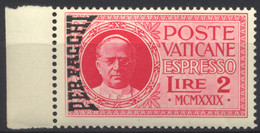 Vaticano, 1931, Effigie Di Pio XI, Espresso L.2, Soprastampato PER PACCHI, Nuovo - Parcel Post