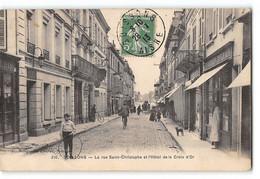 CPA 02 Soissons La Rue St Saint Christophe Et Hotel De La Croix D'Or - Soissons