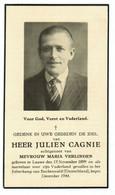 Lot 277 Oorlogsslachtoffer Cagnie Julien Lauwe Gevallen Folterkamp Buchenwald (D) Begin December 1944 - Devotieprenten