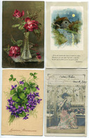 LOT 5 CPA Fantaisies Diverses Roses En Vase Paysage Rivière Violettes Trèfle Femme Intérieur Glaneuses Anniversaire Fête - Autres