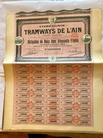 Cie  Des  TRAMWAYS  De L' AIN  ------------    Obligation  De  250 Frs - Bahnwesen & Tramways