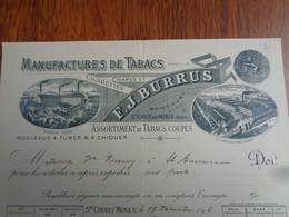 FACTURE - 68 - DEPARTEMENT DU HT. RHIN - DELLE 1904 -ST CROIX AUX MINES 1896 - TABACS, CIGARETTES, CIGARES : E.J. BURRUS - Non Classés