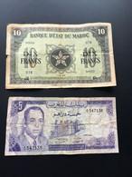 2 BILLETS ANCIENS DU MAROC  :  10 FRANCS 1943 -  5 DIRHAMS 1970 - Morocco