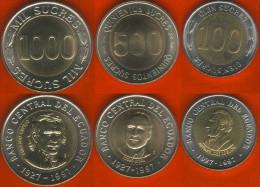 Ecuador Set Of 3 Coins: 100 - 1000 Sucres 1997 BiMetallic UNC - Ecuador