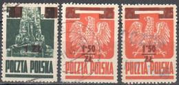 Poland 1945  Grunwald Monument, Polish Eagle - Surcharged - Mi 408-409 - Used - Gestempelt - Used Stamps