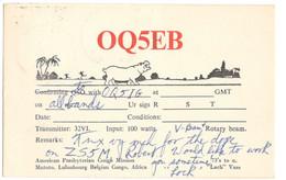 CARTE QSL CARD 1959  OQ-5 BELGIAN BELGISCH CONGO BELGE HIPPO LULUABURG LULUABOURG KANANGA JADOTVILLE JADOTSTADT LIKASI - Radio Amateur