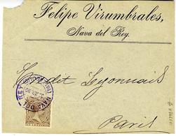 España 1890  Frontal . Bonito Matasello De NAVA DEL REY VALLADOLID   Hasta PARIS  EL779 - Cartas