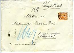 España 1896 Carta Certificada MADRID Hasta UTRECHT Con 75c Naranja   EL780 - Cartas