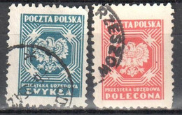 Poland 1950-54 - Official Stamps - Mi.25-26 - Used - Oficiales