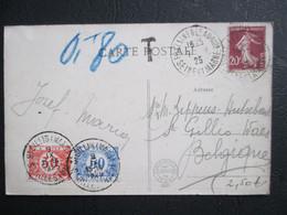 Tx  35 & 38 - Op PK Uit Frankrijk. - Getaxeerd St Gillis (Waas) 9/IX/1925 - Brieven