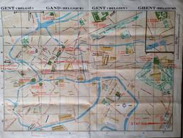 GENT * GAND * STADSPLAN * TRAMWAY * 1939 * LITHO R VAN AUTREVE  * HOTEL RESTAURANTS * TRAM- EN BUSLIJNEN * 42.5 X 32 CM - Gent