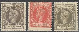 Cuba  1898    Sc#167-9  8c/ 10c/ 15c  King Alfonso  MH   2016 Scott Value $7.45 - Cuba (1874-1898)