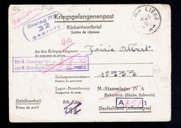 Kriegsgefangenenpost: Liège => Stalag IV A Honstein Redirigée Voir Griffe Violette Et Marques - Lettere