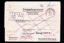 Kriegsgefangenenpost: Antwerpen 30 III 1941 => Stalag XVII A  Barré En Rouge Manuscrit Nicht In Lager ....; - Lettere
