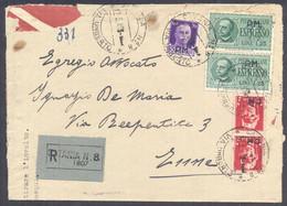 1945 12.3 SOPRASTAMPATI PM RACCOMANDATA CATANIA ESPRESSO 1,25 COPPIA +50C +2L(2) - Storia Postale