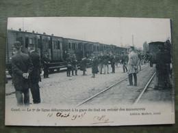 GENT - INTERIEUR GARE DU SUD 1904 - LE 2e DE LIGNE DEBARQUANT AU RETOUR DES MANOEUVRES - Gent