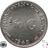 LaZooRo: Curaçao 1/10 Gulden 1948 XF / UNC - Silver - Curacao