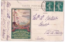 1910 - VIGNETTE GRANDE QUINZAINE AVIATION BAIE De SEINE Sur CARTE De LE HAVRE (SEINE INFERIEURE) => COUVET (SUISSE) - Aviation