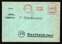 All.Bes. Brief OSNABRÜCK 1 - Bentheim - 8.54.46 Mit Nur Zum Teil Aptierten Werkzifferkasten - Gebühr Bezahlt - Zona AAS
