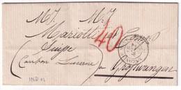 1860 - AMBULANT MACON AU MONT-CENIS Sur LETTRE Avec TAXE 40 ROUGE SUP De CHAMBERY (SAVOIE) => GROSSWANGEN (SUISSE) - 1849-1876: Classic Period