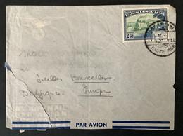 """Briefomslag OBP 296 Albertville - Brussel - Obl. """"Courrier De Haute Mer M.V. Albertville"""" - 1947-60: Briefe U. Dokumente"""