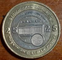 Syria 25 Pounds (25 Liras) 2003 AH1424, KM#131, Unc Bi-Metallic - Syria