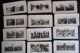 12 PHOTOS STEREO GUERRE 14 18 TRANCHEE MITRAILLEUSE SOLDAT POILUS MILITAIRE VAGUEMESTRE PHOTOGRAPHIE - 1914-18