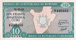 Burundi 10 Francs, P-33a (1.12.1983) - UNC - RARE DATE - Burundi