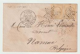N°59x2, étoile 16, Sur Lettre De Paris Pour Namur (Belgique) - 1871-1875 Ceres