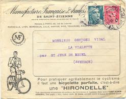 ILLUSTRATION BICYCLETTE HIRONDELLE - MANUFACTURE FRANÇAISE D'ARMES - ST ETIENNE LOIRE DAGUIN Du 31-1-47 - 1921-1960: Periodo Moderno