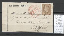 France - BALLON MONTE  25/12/1870 - LE TOURVILLE Pour Londres - Grande Bretagne - 1870 Assedio Di Parigi