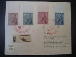 Böhmen Und Mähren FDC 1942- Reco Satz-Brief Hitlers Geburtstag Leerfelder Gel Mit MiNr. 85-88 Von Prag Nach Praha VIIII. - FDC