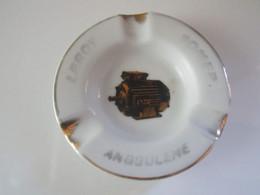 Ancien CENDRIER PUBLICITAIRE LEROY SOMER ANGOULEME PORCELAINE PORCHER LIMOGES Diamètre 10 Cm Poids 91 Grammes - Ashtrays