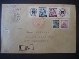 Böhmen Und Mähren FDC 1941- Reco Satz-Brief Hitlers Geburtstag Zierfelder Gel Mit MiNr. 62-63 Von Prag Nach Brandenburg - FDC