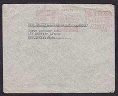 Netherlands: Cover To USA, 1939, Meter Cancel, Econosto Rotterdam, Factory Chimney, Industry, Via Lisbon (minor Damage) - Briefe U. Dokumente