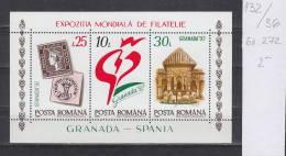 36K132 / 1992 Michel Nr. 272 - Stamp Exhibition Granada 92 SPAIN Clartos MNH ** Romania - Blocks & Sheetlets