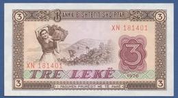 ALBANIA - P.41 –  3 LEKE 1976  UNC Prefix XN - Albania