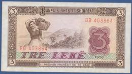 ALBANIA - P.41 –  3 LEKE 1976  AUNC Prefix BB - Albania