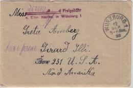 DR-Infla - Würzburg 1 12.SEP 23 Einnahmenachweis L2 Brief N. USA - Cartas